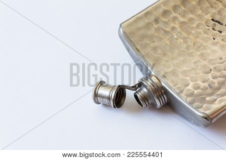 Open Vintage Metal Flask Isolated On White, Drinking Alcoholism Addiction Concept, Copy Space, Horiz