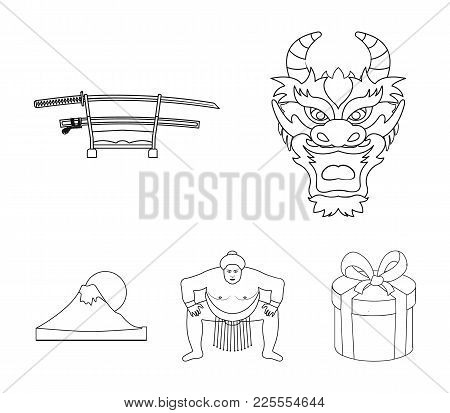 Dragon Mask, Katano, A Man Is A Sumo Player, A Fujiama Mountain.japan Set Collection Icons In Monoch