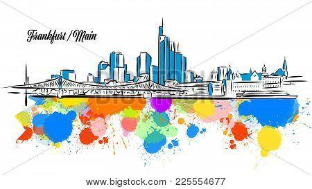 Colorful Frankfurt Main Cityscape Banner. Hand Drawn Vector Illustration, Paint Splatter Color Isola