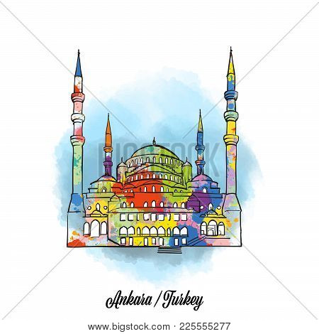 Colorful Ankara Mosque Sign. Hand Drawn Vector Illustration, Paint Splatter Color Isolated On White