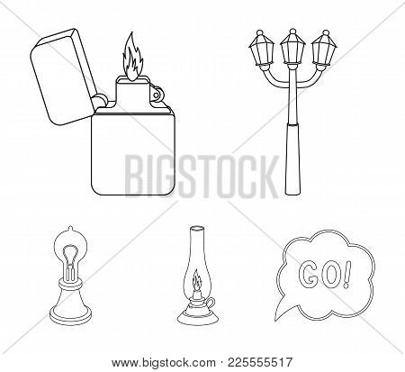 Street Lamp, Lighter, Kerosene Lamp, Lamp Of Edison.light Source Set Collection Icons In Outline Sty