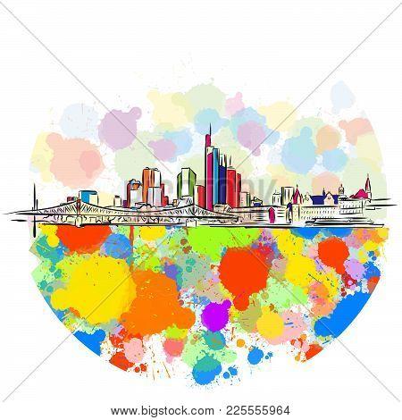 Colorful Frankfurt Skyline Sketch. Hand Drawn Vector Illustration, Paint Splatter Color Isolated On