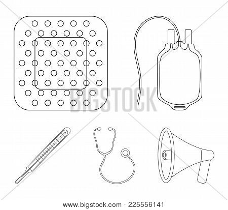 Package With Donor Blood And Other Equipment.medicine Set Collection Icons In Outline Style Vector S