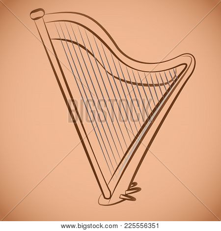 The Image Of The Classical Harp. Antique String Instrument Vector Illustration. Brown Color.