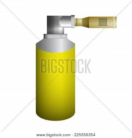 Yellow Burner Vector Illustration. Compressed Butane Cylinder.