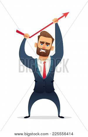 Successful Beard Businessman Character In Suit Increasing Sales. Manager Bends Up Sales Curve. Busin