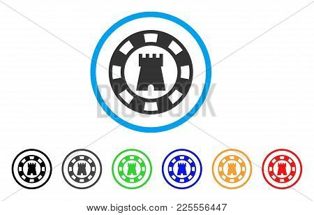 Castle Casino Chip Icon. Vector Illustration Style Is A Flat Iconic Castle Casino Chip Black Symbol