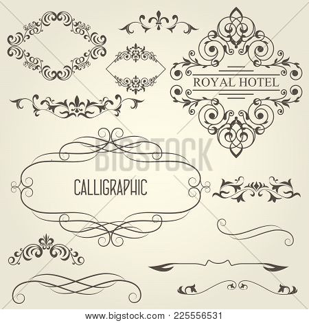Vintage Calligraphic Frames With Vignettes And Ornamental Dividers