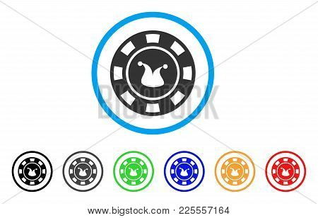 Joker Casino Chip Icon. Vector Illustration Style Is A Flat Iconic Joker Casino Chip Black Symbol Wi