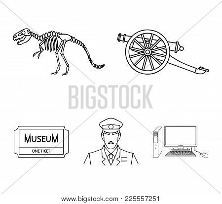 Gun On Wheels, Dinosaur Skeleton, Security Guard In Uniform, Admission Ticket. Museum Set Collection