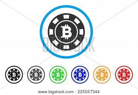Bitcoin Casino Chip Icon. Vector Illustration Style Is A Flat Iconic Bitcoin Casino Chip Black Symbo
