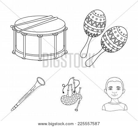 Maracas, Drum, Scottish Bagpipes, Clarinet. Musical Instruments Set Collection Icons In Outline Styl
