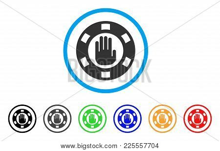 Stop Gambling Chip Icon. Vector Illustration Style Is A Flat Iconic Stop Gambling Chip Black Symbol