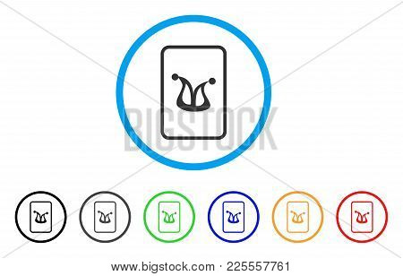 Joker Gaming Card Icon. Vector Illustration Style Is A Flat Iconic Joker Gaming Card Black Symbol Wi