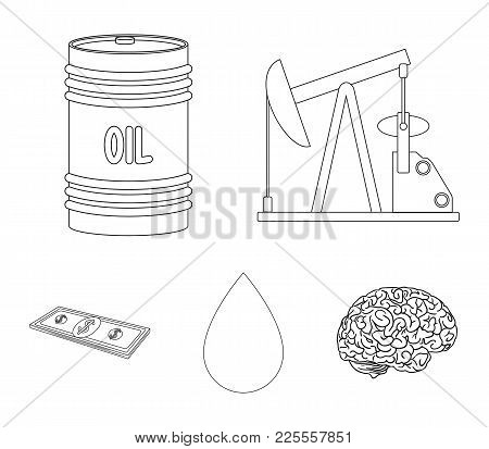 Pump, Barrel, Drop, Petrodollars. Oil Set Collection Icons In Outline Style Vector Symbol Stock Illu