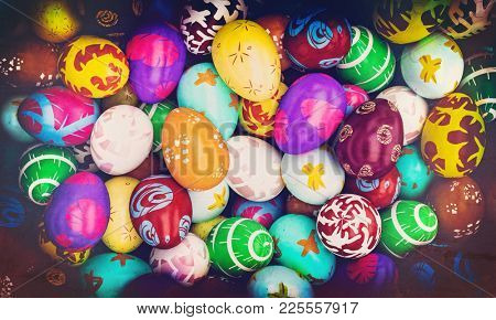 grunge image of painted easter eggs 3d rendering image
