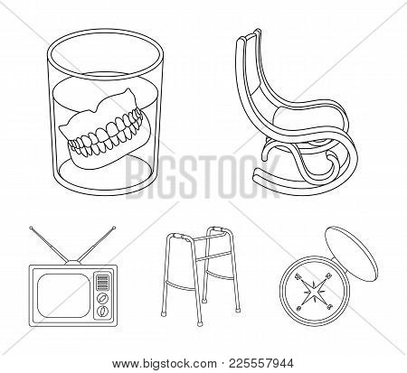 Denture, Rocking Chair, Walker, Old Tv.old Age Set Collection Icons In Outline Style Vector Symbol S