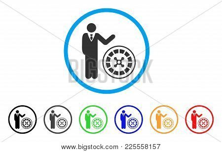 Roulette Croupier Icon. Vector Illustration Style Is A Flat Iconic Roulette Croupier Black Symbol Wi