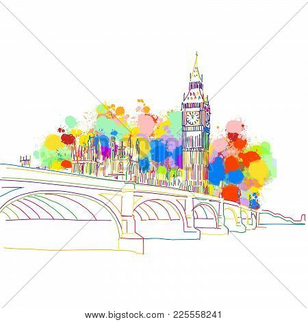 Colorful Landmark Sketch Of London. Hand Drawn Vector Illustration, Paint Splatter Color Isolated On