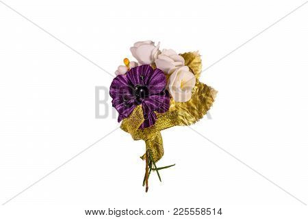 Beautiful Multicolored Brooch Isolated On White Background