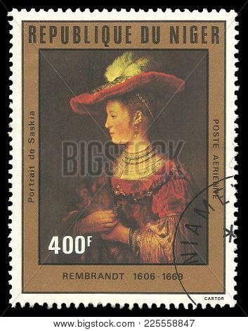 Niger - Circa 1981: Stamp Printed By Niger, Color Edition On Art, Shows Painting Saskia By Rembrandt