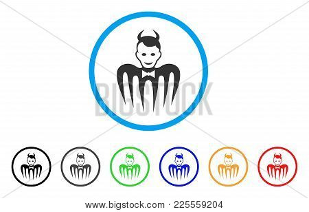 Gentleman Spectre Devil Icon. Vector Illustration Style Is A Flat Iconic Gentleman Spectre Devil Bla
