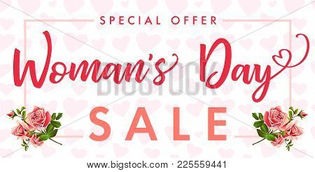 Happy Womens Day Rose Flower And Hearts Sale Banner. Sale Women`s Day Greeting Card Template With Ty