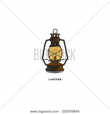 Vintage Hand Drawn Lantern Concept. Perfect For Logo Design, Badge, Camping Labels. Retro Colors. Sy