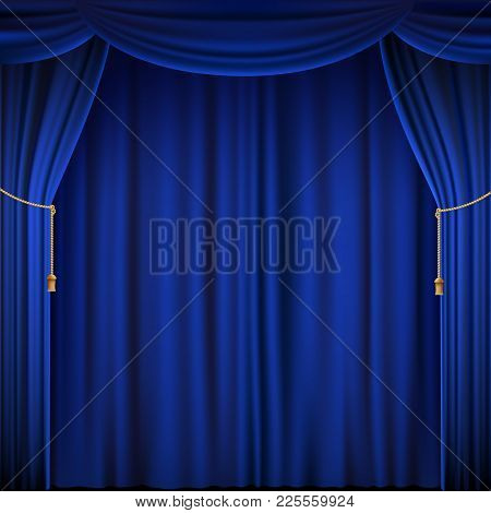 Blue Theater Curtain. Silk Textile Background. Stock Vector Illustration.