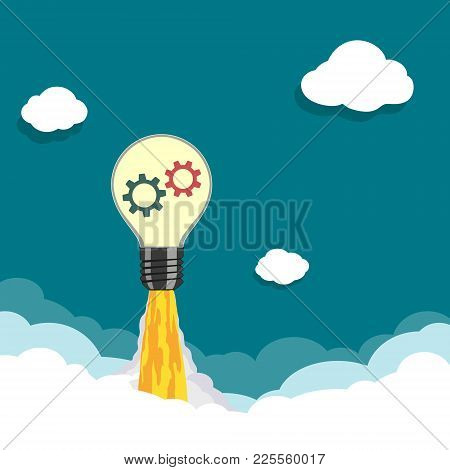 Cartoon Rocket Light Bulb Take Off In The Clouds. Stock Vector Illustration.