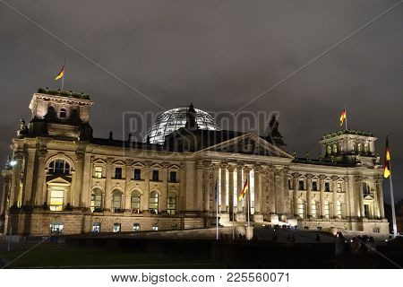 Reichstag Building Seen From The Former Konigsplatz At Night