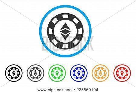 Ethereum Casino Chip Icon. Vector Illustration Style Is A Flat Iconic Ethereum Casino Chip Black Sym
