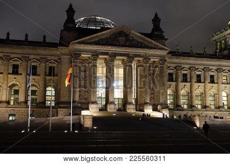 The Dedication Dem Deutschen Volke On The Frieze Of Reichstag