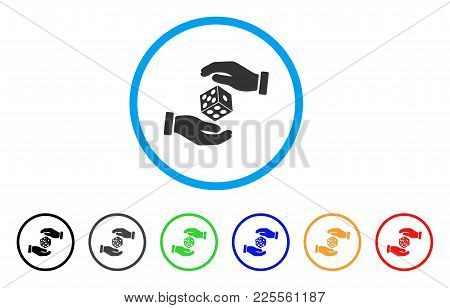 Hands Throw Dice Icon. Vector Illustration Style Is A Flat Iconic Hands Throw Dice Black Symbol With