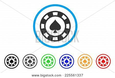 Spades Casino Chip Icon. Vector Illustration Style Is A Flat Iconic Spades Casino Chip Black Symbol