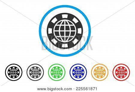 Globe Casino Chip Icon. Vector Illustration Style Is A Flat Iconic Globe Casino Chip Black Symbol Wi