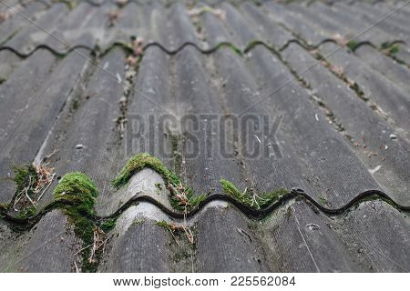 Texture Of Gray Fiber Cement Roof Sheet, Closeup. Pattern Of Weathered Old Roof, Rustic Background
