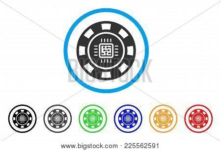 Processor Casino Chip Icon. Vector Illustration Style Is A Flat Iconic Processor Casino Chip Black S