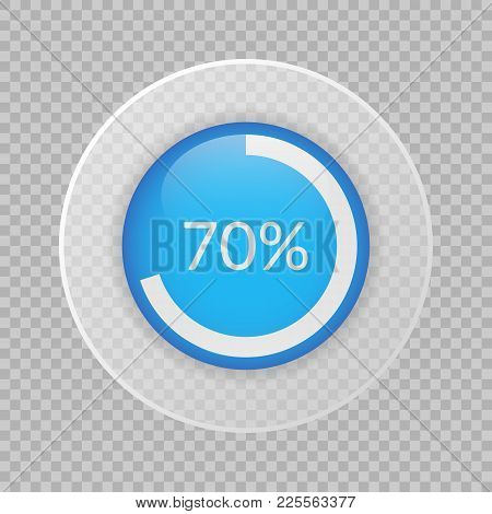 70 Percent Pie Chart On Transparent Background. Percentage Vector Infographics. Circle Diagram Isola