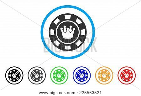 Crown Casino Chip Icon. Vector Illustration Style Is A Flat Iconic Crown Casino Chip Black Symbol Wi
