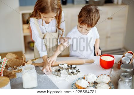 Kids Cooking Baking Cookies Kitchen Concept. Kids Cooking.
