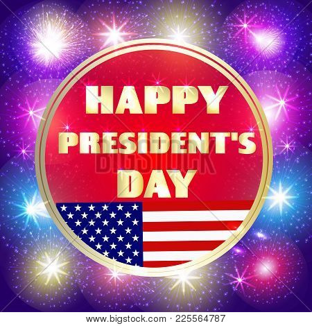 Happy Presidents Day Background. Brightly Colorful Illustration. Illustration Design For Greeting Ca
