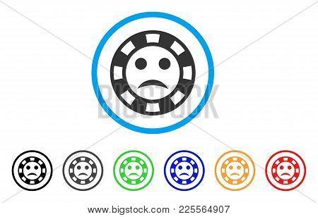 Sad Casino Chip Icon. Vector Illustration Style Is A Flat Iconic Sad Casino Chip Black Symbol With G