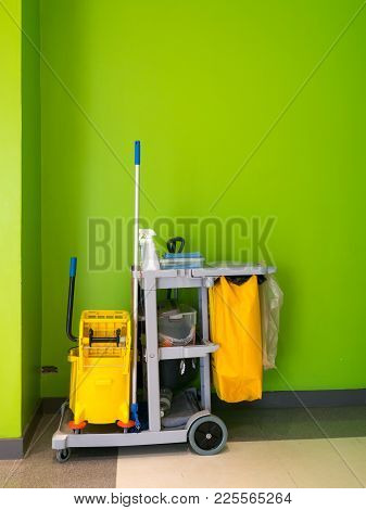 Cleaning Tools Cart Wait For Cleaning.bucket And Set Of Cleaning Equipment In The Office. Janitor Se