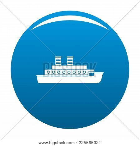 Steamship Icon Vector Blue Circle Isolated On White Background