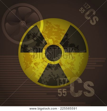 Yellow Radioactive Sign Danger Vector Illustration. Cesium 137 On A Brown Background. Protection Fro