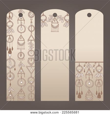 Labels For Clothes In Boho Style. Three Vector Sticker. Set Beige Brown Labels For Garment