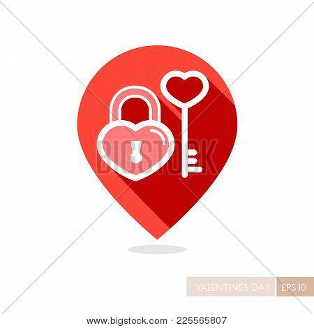 Key And Lock In Heart Shape Pin Map Icon. Valentines Day Symbol. Map Pointer. Vector Illustration, R