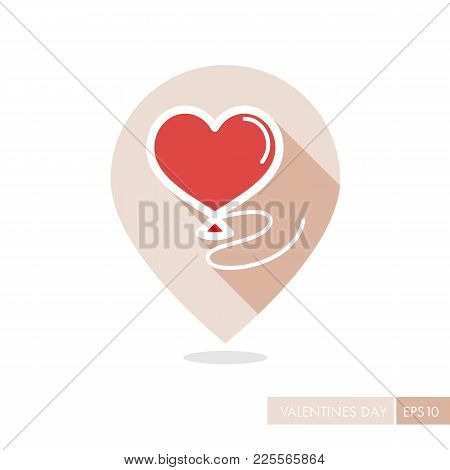 Balloon In The Form Of Heart Pin Map Icon. Valentines Day Symbol. Map Pointer. Vector Illustration,