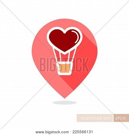 Heart Air Balloon Thin Line Pin Map Icon. Valentines Day Symbol. Map Pointer. Vector Illustration, R
